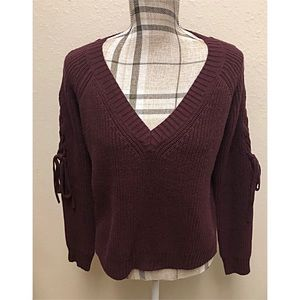 Sweaters - Guess burgundy Cut Out tie down sleeves sweater